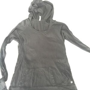 Fabletics Black Long Sleeve Yoga Hooded Top Sz LG